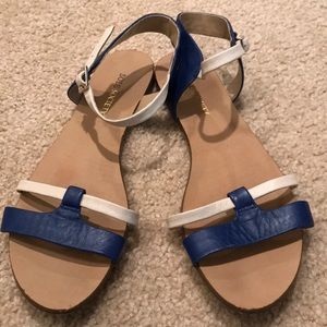 Navy and cream sandals by Sole Society